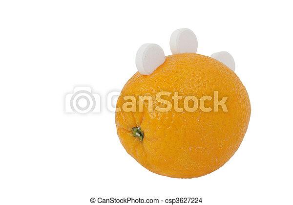 Ripe orange with three white round of vitamin C isolated on white background - csp3627224