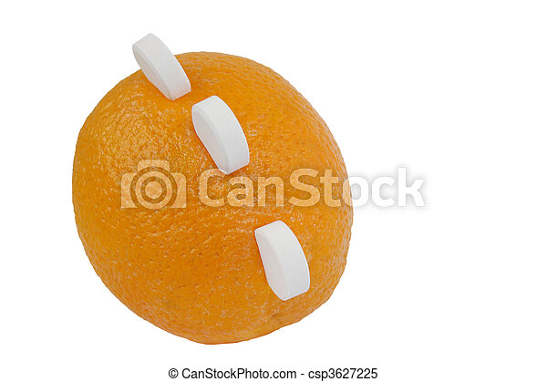 Ripe orange with three white round tablets of vitamin c isolated on white background - csp3627225