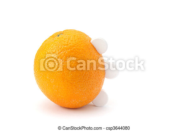 Ripe orange with three white round tablets of vitamin C isolated on white background - csp3644080