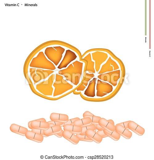 Ripe Orange with Vitamin C on White Background - csp28520213