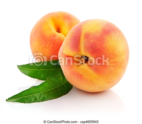 ripe peach fruits with green leaves - csp4605943