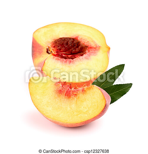 Ripe peach with slice - csp12327638