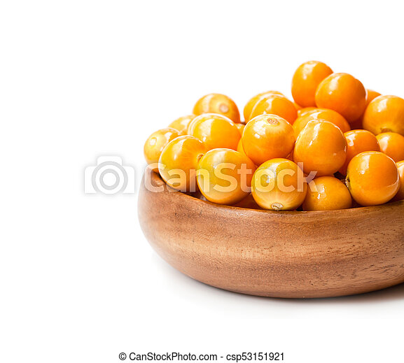 ripe physalis in wooden bowl on white background - csp53151921