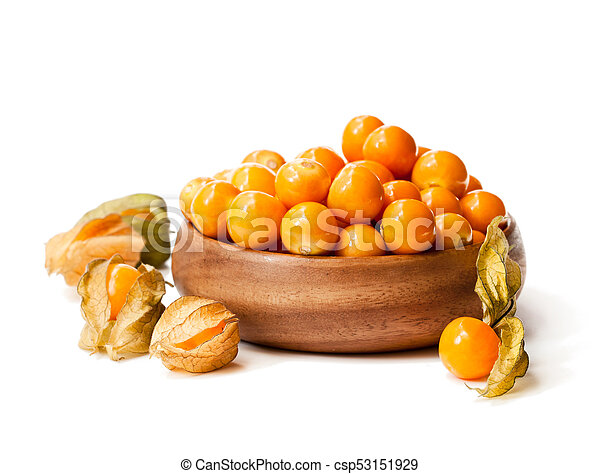 ripe physalis in wooden bowl on white background - csp53151929