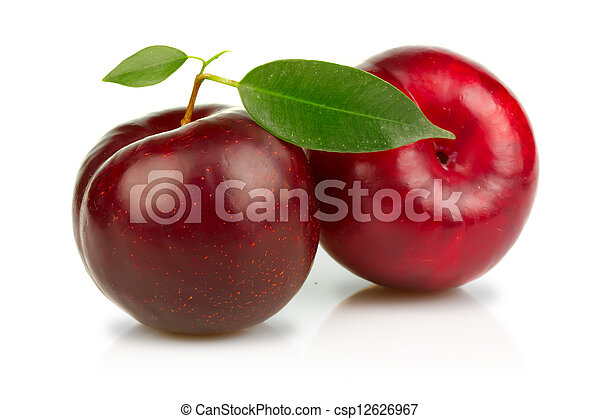 Ripe plums fruits with green leaves isolated on white - csp12626967