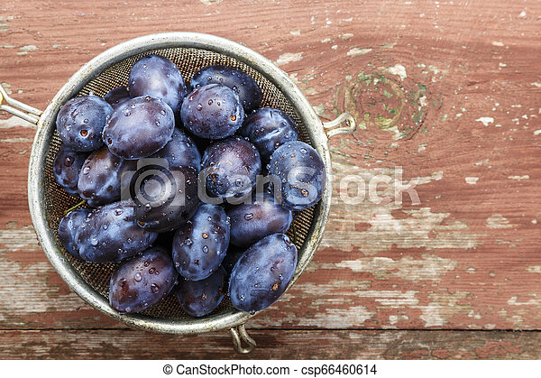ripe plums place for text - csp66460614