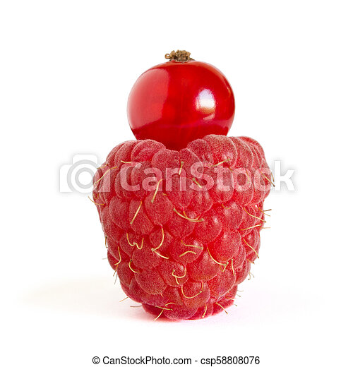 Ripe Raspberry with Red Currant on Top Isolated on the White Background - csp58808076