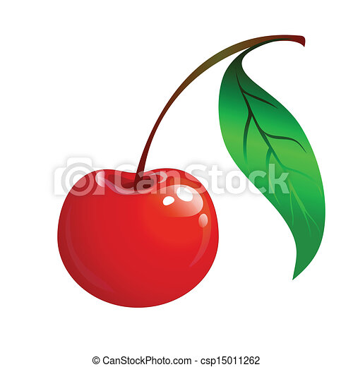 ripe red cherry with a green leaf - csp15011262
