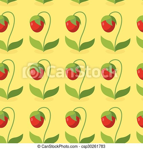 Ripe red strawberries with green leaves seamless pattern. Vector background of berries. Hilarious vintage ornament for fabrics. - csp30261783