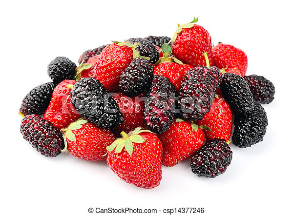 Ripe strawberry and mulberry - csp14377246