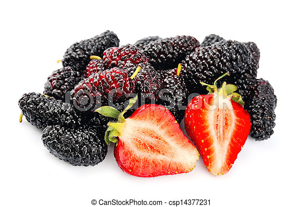 Ripe strawberry and mulberry - csp14377231