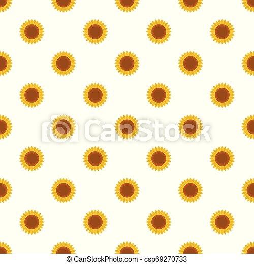 Ripe sunflower pattern seamless vector - csp69270733
