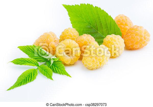 ripe yellow raspberries - csp38297073