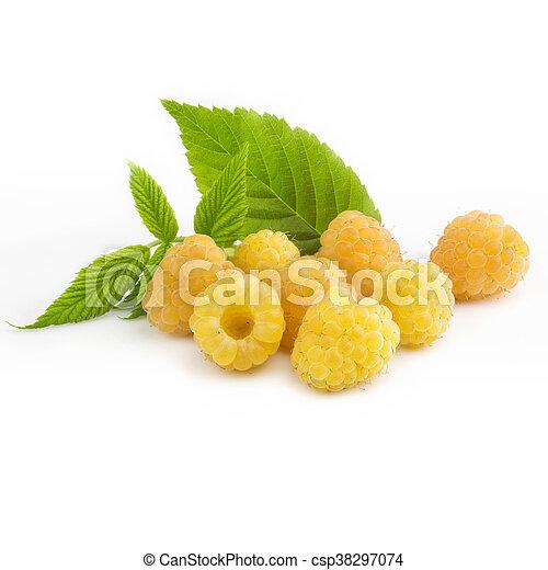 ripe yellow raspberries - csp38297074