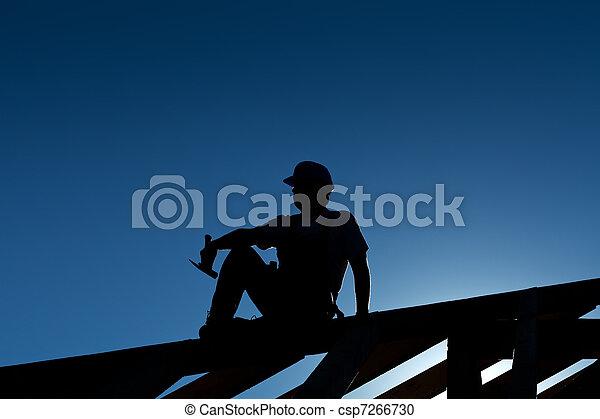 riposare, cima, carpentiere, tetto, o, costruttore, struttura - csp7266730