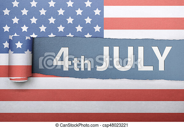 Ripped american flag paper with Fourth 4th of July greetings - csp48023221
