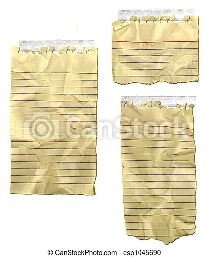 Ripped Paper Old Notebook Wrinkled - csp1045690