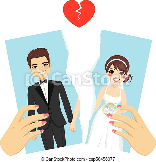 Ripped Photo Divorce Concept - csp56458077