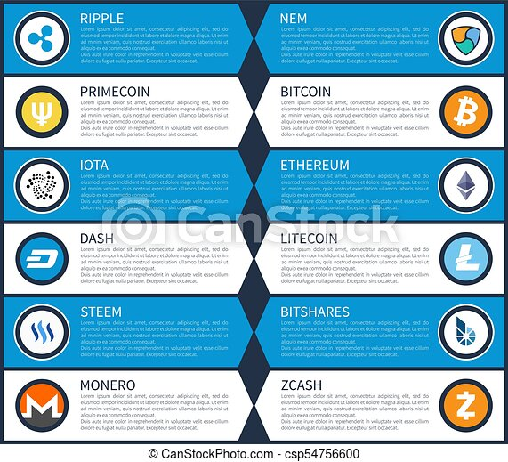 Ripple and Dash Cryptocurrency Vector Illustration
