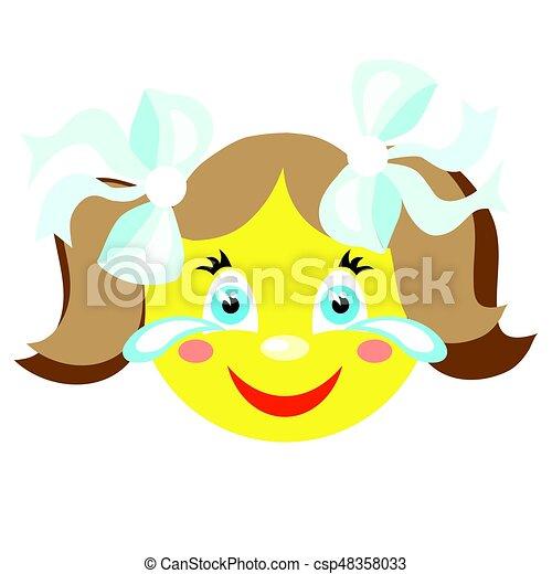 La chica sonriente ríe y llora. - csp48358033