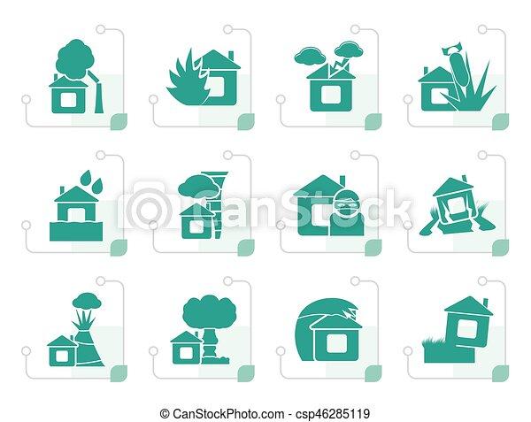 Rischio icone casa stilizzato assicurazione casa set for Assicurazione casa on line