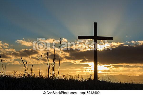 Rising Cross Sun - csp18743402