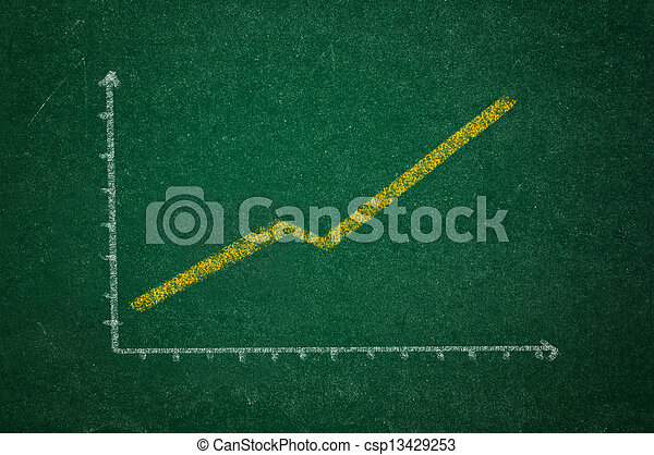 Rising graph on green chalkboard - csp13429253