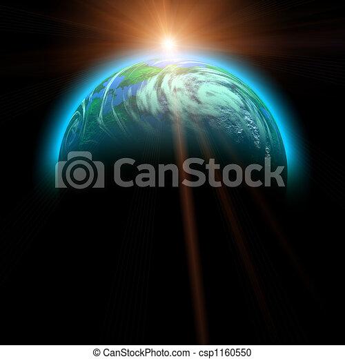 rising sun and planet illustration - csp1160550