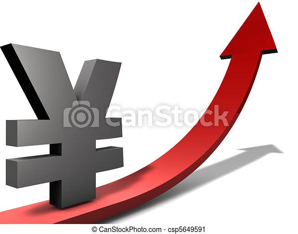 Rising Yen Or Chinese Yuan Illustration Of Increasing Japanese Or