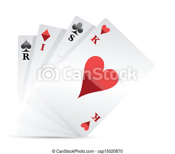 risk poker card hand illustration design - csp15020870