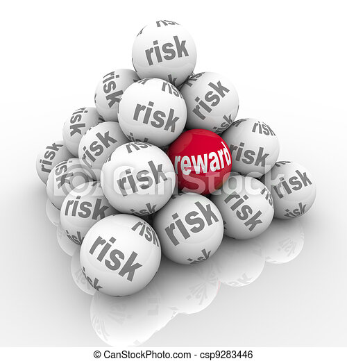 Risk Vs Reward Pyramid Balls Return on Investment - csp9283446