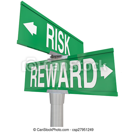 Risk Vs Reward Two 2 Way Road Street Signs ROI Investment - csp27951249