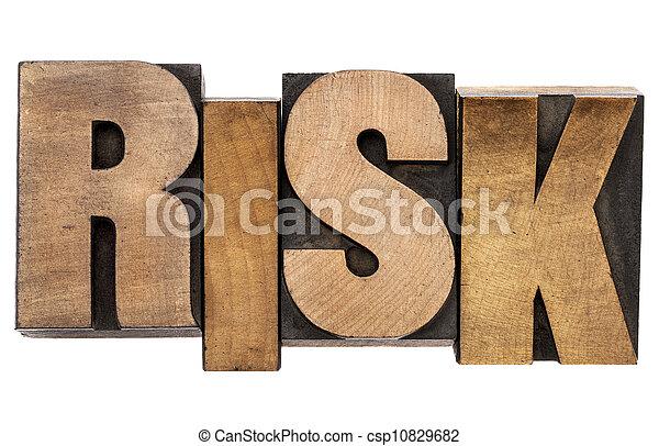 risk word in letterpress wood type - csp10829682