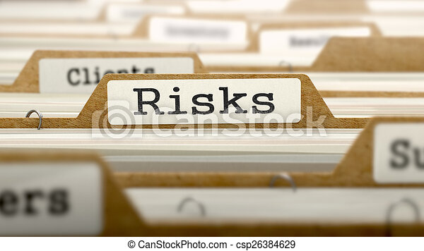 Risks Concept with Word on Folder. - csp26384629