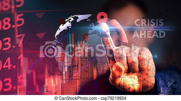 risque, concept, devant, depression., crise, problèmes, financier, économique - csp79219924