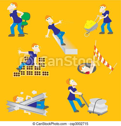 risques, ouvrier construction, accident - csp3002715