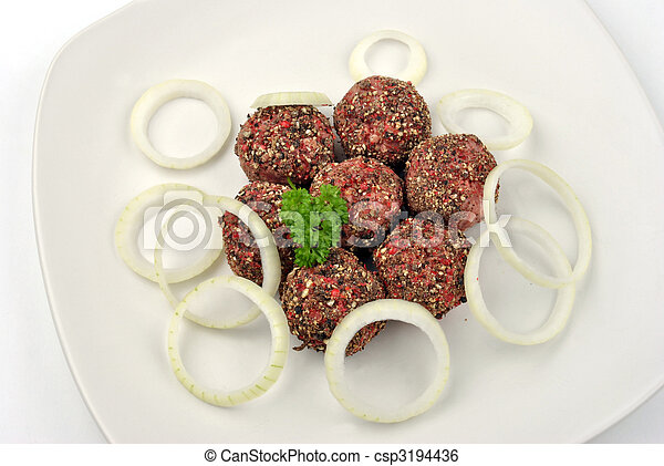 rissole with organic parsley on a plate - csp3194436