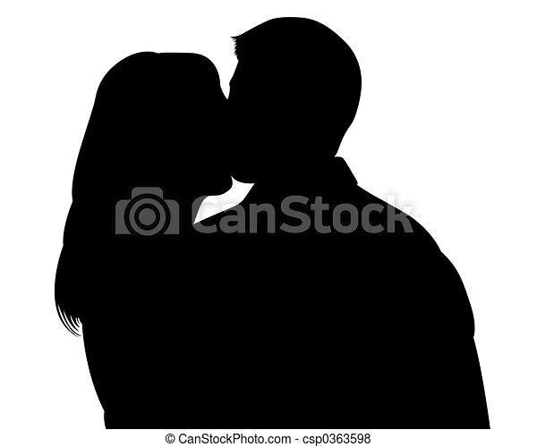 ritaglio, silhouette, baciare coppie, percorso, witn - csp0363598