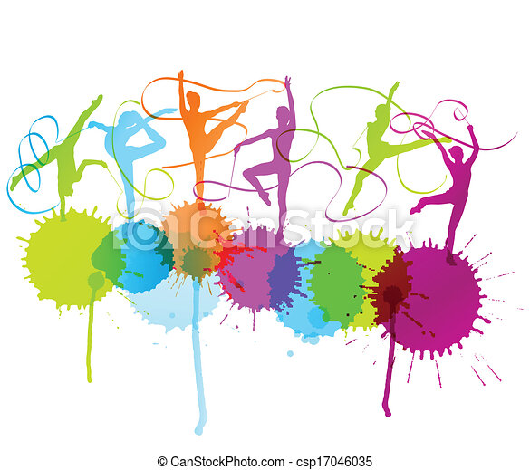 ritmico, donna, manifesto, astratto, vettore, ginnastica, schizzi, fondo, nastro - csp17046035