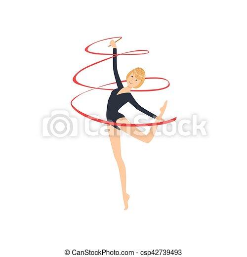 ritmico, leotard, apparato, manica, sportiva, compiendo, lungo, elemento, ginnastica, professionale, nero, nastro - csp42739493