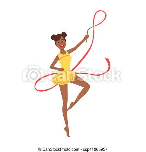 ritmico, leotard, apparato, sportiva, compiendo, giallo, elemento, ginnastica, professionale, nastro, nero - csp41885957