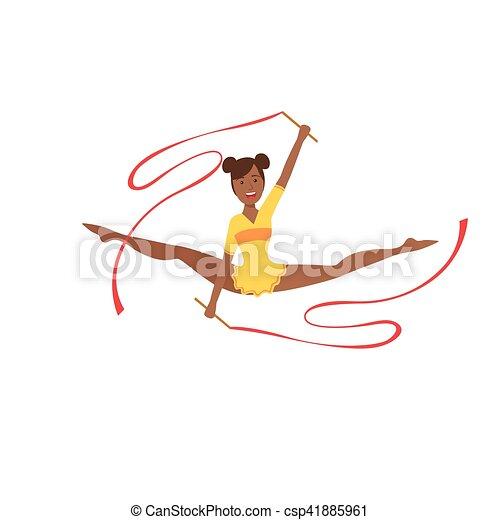 ritmico, leotard, apparato, sportiva, compiendo, due, giallo, elemento, ginnastica, professionale, nastri, nero - csp41885961