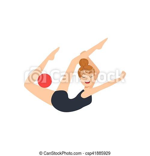 ritmico, leotard, palla, apparato, sportiva, compiendo, elemento, ginnastica, professionale, nero - csp41885929
