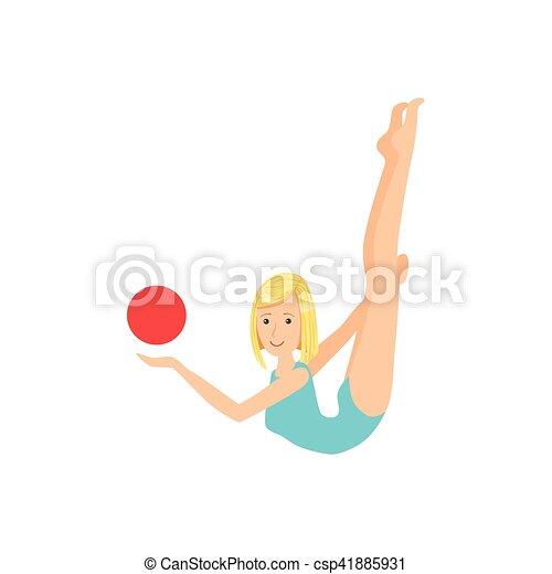 ritmico, palla blu, apparato, sportiva, compiendo, elemento, leotard, ginnastica, biondo, professionale - csp41885931