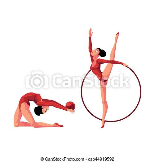 ritmico, palla, cerchio, esercitarsi, leotards, due, ginnasti - csp44919592
