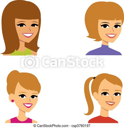 ritratto, avatar, cartone animato, illustrazione, donne - csp3760197