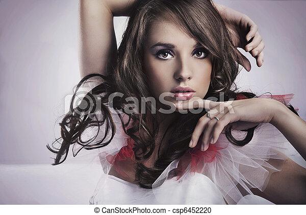 ritratto, brunetta, bellezza - csp6452220