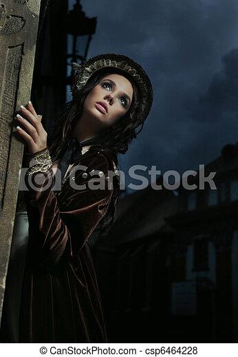 ritratto, brunetta, carino - csp6464228
