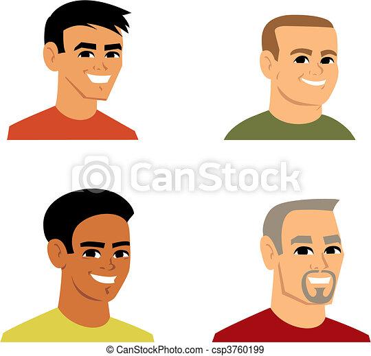 ritratto, cartone animato, illustrazione, avatar - csp3760199