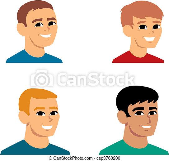 ritratto, cartone animato, illustrazione, avatar - csp3760200
